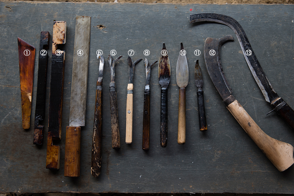 Tools of urushi tapping (tools produced by Kudo Takeo)