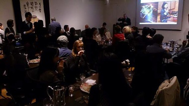 The lecture on compatibility of lacquerware and Japanese sake